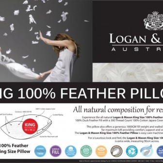 King 100 Feather Pillow by Logan & Mason
